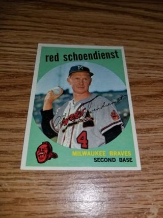 1959 Topps Baseball Red Schoendienst #480 Milwaukee Braves,NM condition,Free Shipping!