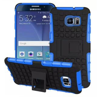 1 NEW HYBRID◎ SAMSUNG GALAXY s6 BLUE Housing Case Scratch-Resistant Shock Absorbent Tire Grip Stand