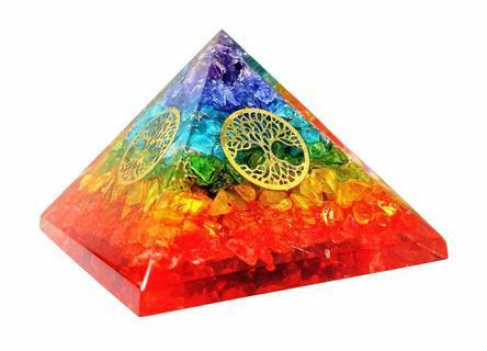 NEW Chakra Rainbow Orgone Pyramid Therapy Gemstones FREE SHIPPING