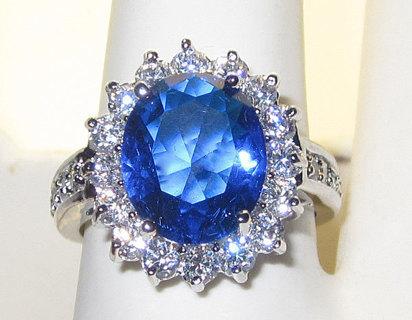 ROYAL BLUE SAPPHIRE SIMULATED DIAMOND RHODIUM RING NEW PRINCESS KATE & DI STYLE HIGH QUALITY!