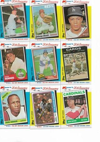 (9) 1982 Topps Kmart Baseball Star Cards