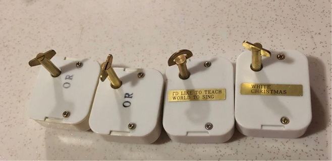 Four (4) Mini Music Boxes Wind Up, See description and pics