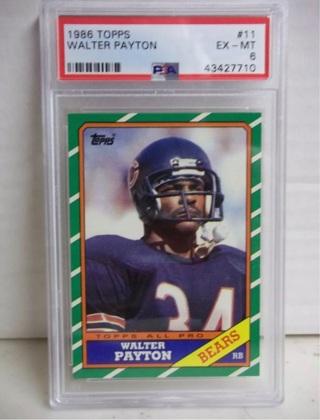 1986 TOPPS PSA WALTER PAYTON-EX-MT GRADE 6 #11