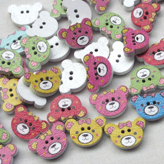 50PCs Wood Buttons Baby Bear Head Sewing Craft 2 Holes