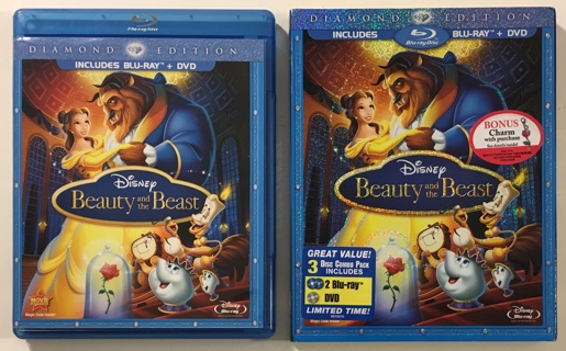 Disney Beauty and the Beast 3-Disc Diamond Edition Blu-ray/DVD Combo Movie w/ Slipcover - Mint Discs