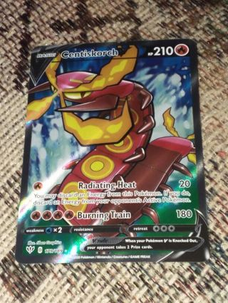 Ultra Rare Centiscorch V 179/189 Textured Full Art SWSH3 Darkness Ablaze Pokemon Card Unplayed NM