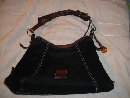 379095b470a Dooney & Bourke East/West Slouch Hobo Bag Purse Pocketbook Black Suede  Beautiful & Authentic