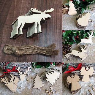 [GIN FOR FREE SHIPPING] 20Pcs Christmas Decor Wood Chip Tree Ornaments Hanging Pendant
