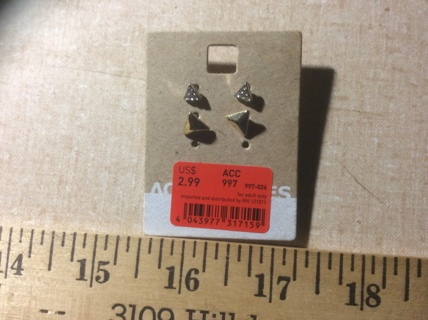 2 Pair of Earrings Perfect Size for 2nd Piercing Silver & Gold Tone