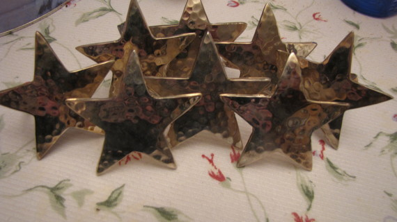 5 Point Silver Star Napkin Rings - New set of 8