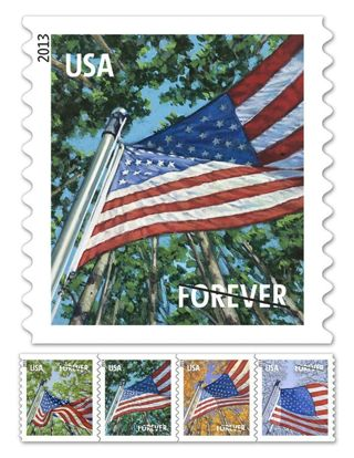 Five (5) Unused Forever Postage Stamps
