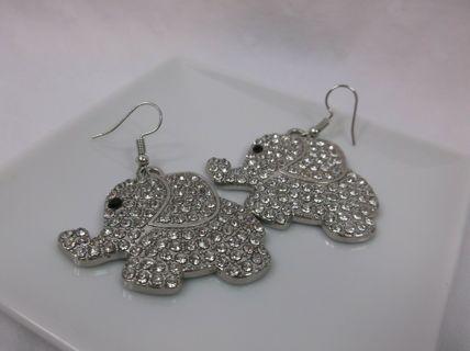 Shiny Rhinestone White Elephant Earrings