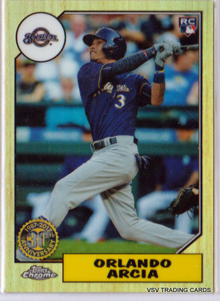 Orlando Arcia 1987 Refractor Rookie 2017 Topps Chrome card 87T-3 Brewers RC