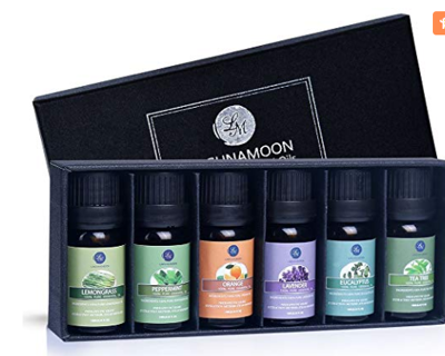 Lagunamoon  6pc  Gift Set Pure Essential Oils for Diffuser, Humidifier, Massage, Aromatherapy