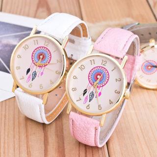 Fashion Geneva Women Leather Band Stainless Steel Quartz Analog Wrist Watch