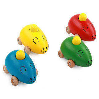 Colorful Children Gifts Sound Toy Wooden Educational Toy Cartoon Mouse Toys