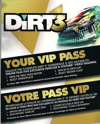 Free: DiRT 3 VIP Pass (Xbox 360) - Video Game Prepaid Cards