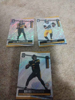 3 Card lot football James Connors ,Ben roethlisberger ,and juju Smith Schuster Pittsburgh Steelers
