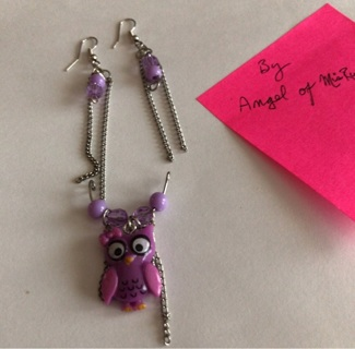 Purple earrings and owl pendant