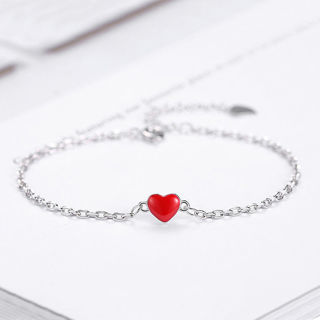 [GIN FOR FREE SHIPPING] 925 Silver Women Red Love Heart Chain Bracelet