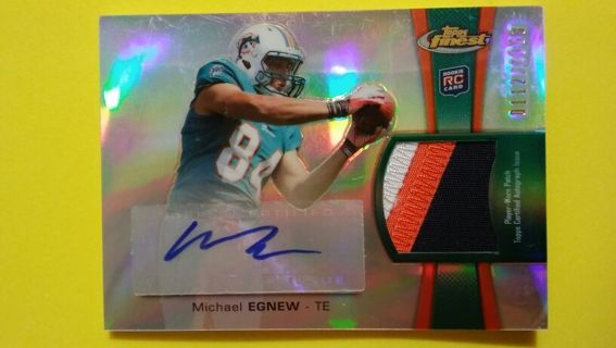 MICHAEL EGNEW - 2012 TOPPS FINEST 112/1353 - ROOKIE 3 COLOR AUTO / PATCH - MIAMI DOLPHINS