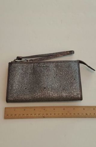 Coach Wristlet Gray Sparkling very nice please see all pics and read description