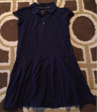 Cat and Jack Girls Size M 7 8 Navy Blue Uniform Dress Like New
