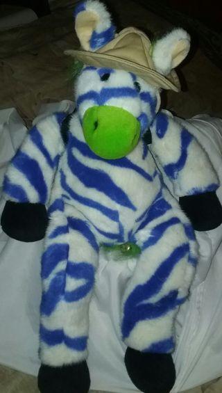 """1998 Zany Brainy Zebra plush named Zipes 20"""""""
