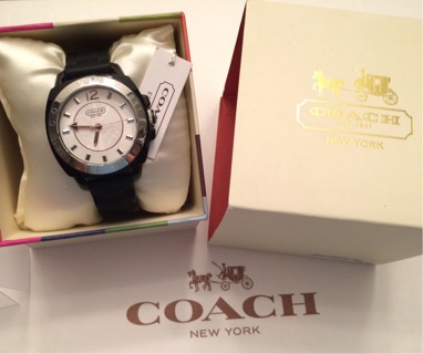 BNWT COACH Boutique 'BOYFRIEND' SS Japan Movement Sig BLACK WATCH w BOX etc