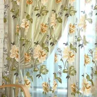Peony Flowers Window Tulle Luxury Sheer Curtains for Kitchen Bedroom Living Room