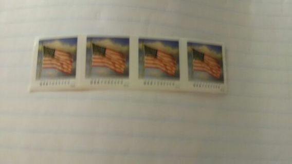 Five unused forever stamps