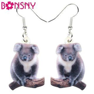 Bonsny Acrylic Cute Australian Koala Bear Earrings Drop Dangle Big Cartoon Animal Jewelry For Women