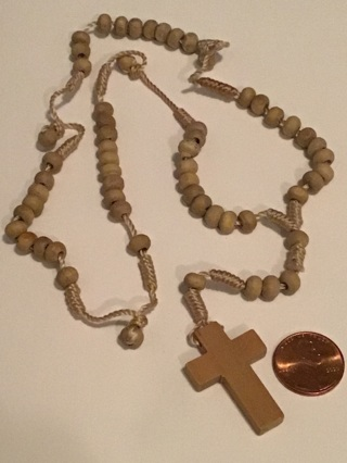 Wood rosary beads ,hand tied knots
