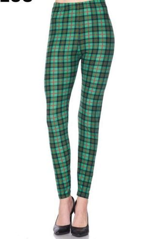 PLUS SIZE GREEN PLAID LEGGINGS BUTTERY SOFT SIZES 12-20 NWT FREE SHIPPING!