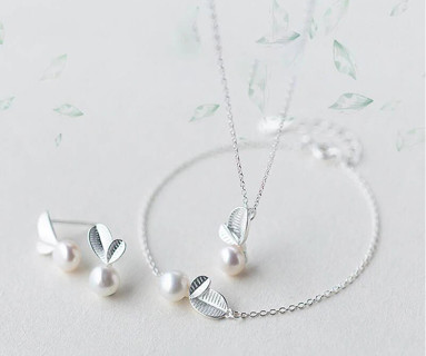 Stamp Silver Color Jewelry Sets Bud Leaf Pearl Necklace+Earrings+Bracelet For Women Korean