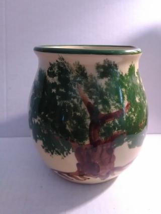 Vtg Alpine Pottery Roseville Ohio 1997 Tree Pattern Crock / Flower Pot