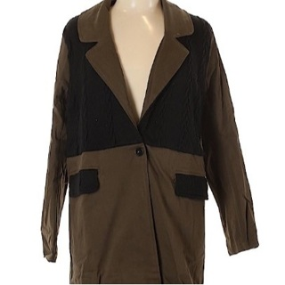 ⭐ Brand New Women's Olive Green Black Long Cotton Twill Duster Coat Jacket - Size L ⭐