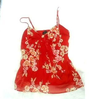 RAMPAGE BLOUSE CAMISOLE WOMENS SIZE SMALL RED GLAM PIXIE LOLITA