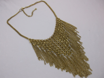 Tarnishing Nuts Bib Necklace in Goldtone
