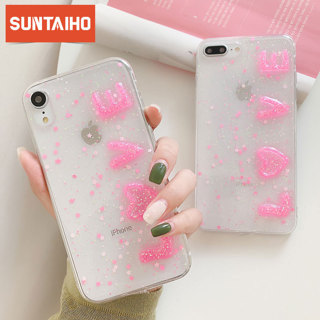 Glitter Bling Sequins Case For iphone XS MAX XR Transparent Love font Silicone Case For iphone 6 6s