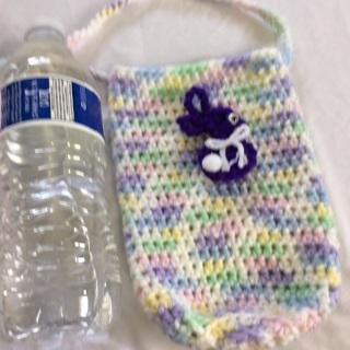 Hand Crochet Cross Body Beverage Cozy with Shoulder Strap.