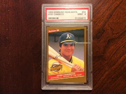 Free Graded Jose Canseco Rookie 1986 Donruss Highlights