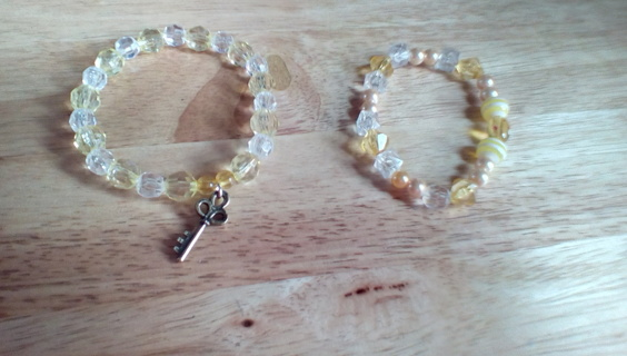 2 Handmade Stretch Bracelets: New