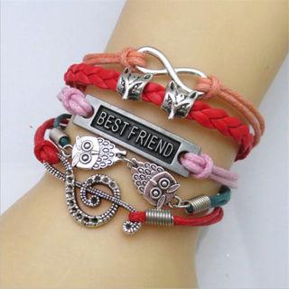 Fashion Women Men Jewelry Infinity Heart Friendship Bangle PU Leather Bracelet