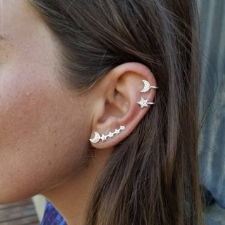 3 Pcs/set Women Gold Silver Bohemian Retro Shiny Crystal Star Moon Earrings Set Ladies Wedding
