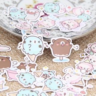✩★ Ice Cream Bear Kawaii High End Sticker Flakes Set of 10 BRAND NEW ✩★