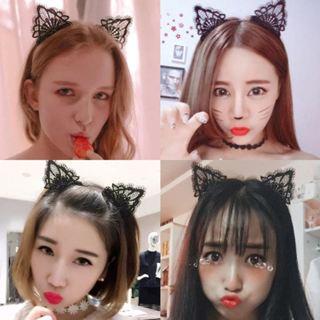 Women Girls Cute Headband Sexy Lace Cat Ear Hairband Hair Accessory Halloween