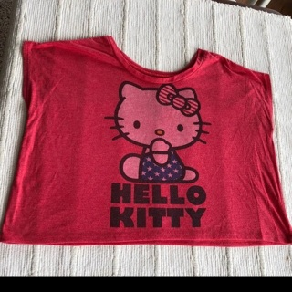 Hello Kitty Red Crop Top Tee Shirt • Oversize Loose Fit • Free Shipping