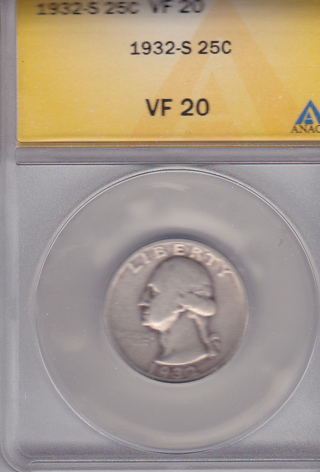 1932 S Quarter key date HTF Graded VF 20