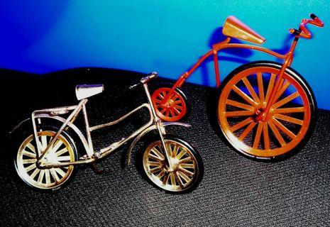 2 Doll House Size Metal Bikes